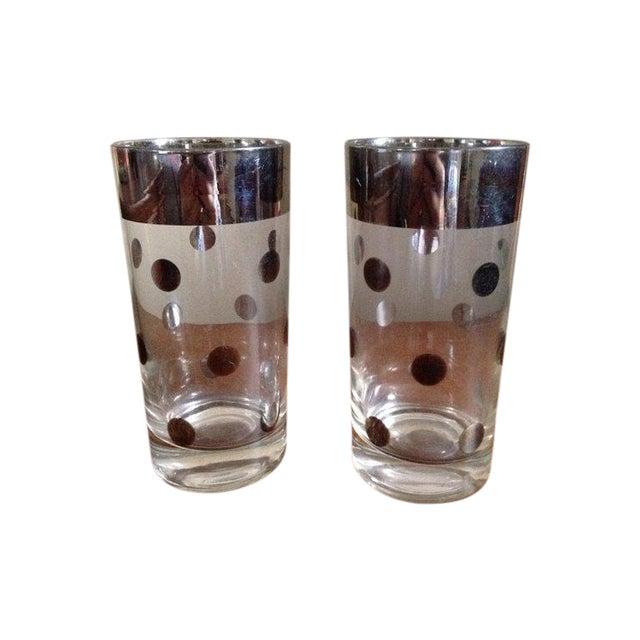 Dorothy Thorpe Silver Rim Polka Dot Glass - A Pair - Image 1 of 4
