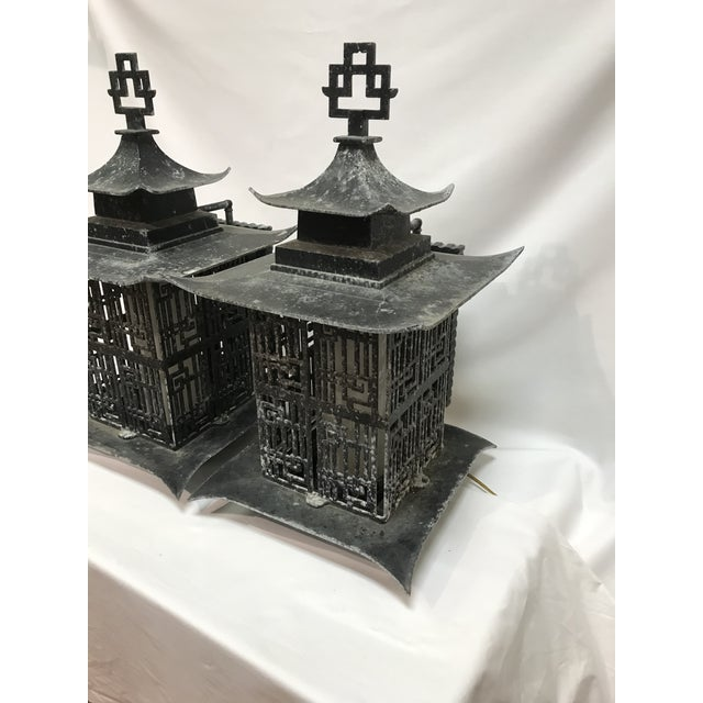 Chinese Asian Pagoda Outdoor Metal Chinese Lattice Patterns Wall Sconces- a Pair For Sale - Image 3 of 10