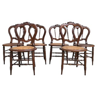 Victorian Caned Chairs, S/6 For Sale