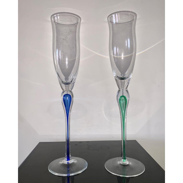 Very tall vintage Mikasa cocktail glasses, goblets, or large champagne flutes infused with blue/green detailing. Very rare...