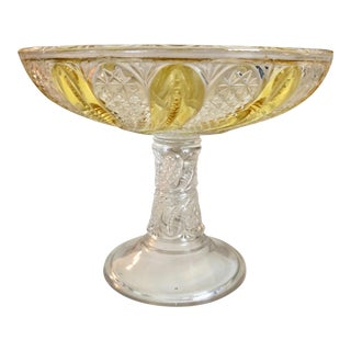 1940s Cut Crystal Footed Compote For Sale