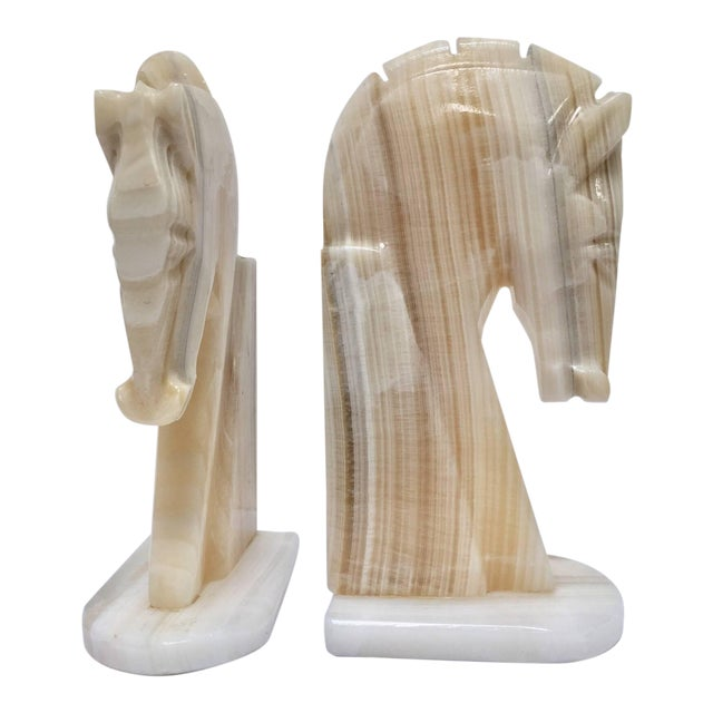 Pair of Art Deco Onyx Horses Heads Bookends For Sale