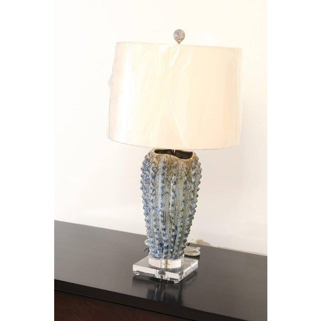 Blue Fabulous Pair of Textured Portuguese Ceramic Vessels as Custom Lamps For Sale - Image 8 of 10