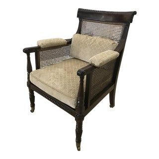 Mid 19th Century Vintage Regency Mahogany Caned Bergere Chair For Sale
