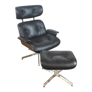 Reproduction Eames Style Lounge Chair & Ottoman - A Pair