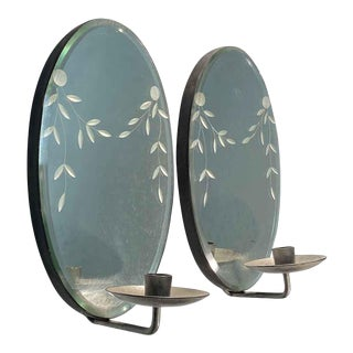 Etched Beveled Mirror Candle Sconces - a Pair For Sale