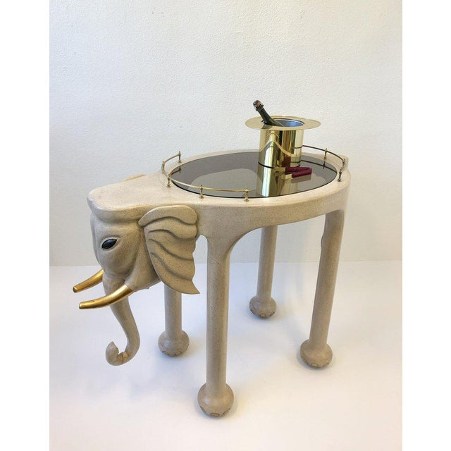 1980s Carved Wood Elephant Bar Cart by Marge Carson For Sale In Palm Springs - Image 6 of 12