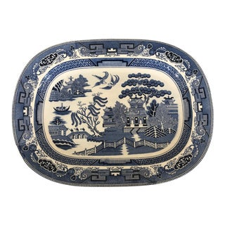 Large Blue Willow Chinoiserie Serving Platter For Sale