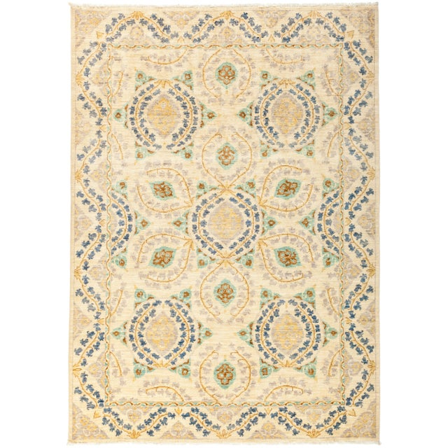 "Suzani Hand Knotted Area Rug - 6' 4"" X 8' 8"" - Image 4 of 4"