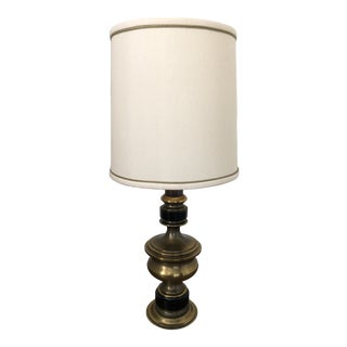 1960s Vintage Leviton Brass Lamp With Silk Shade For Sale