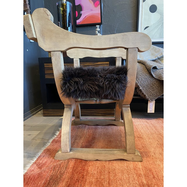 Traditional Carved Oak Throne Chair With Shearling Seat For Sale - Image 3 of 10