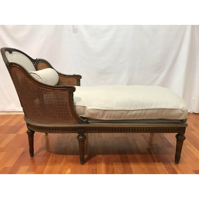 Louis XVI Style European Mahogany Carved Blind Cane Chaise For Sale - Image 11 of 11