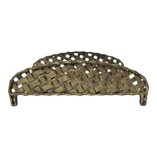 Vintage Brass Basket-Weave Hand Towel Holder For Sale