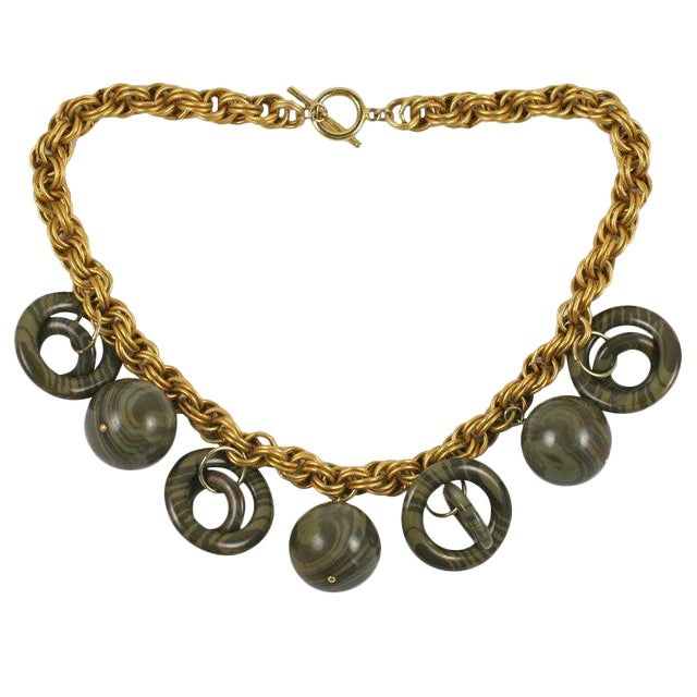 Chunky Goldtone Necklace With Large Dangles For Sale