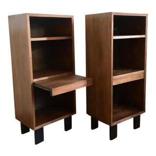1950s George Nelson Walnut Bookshelf Nightstands - a Pair For Sale