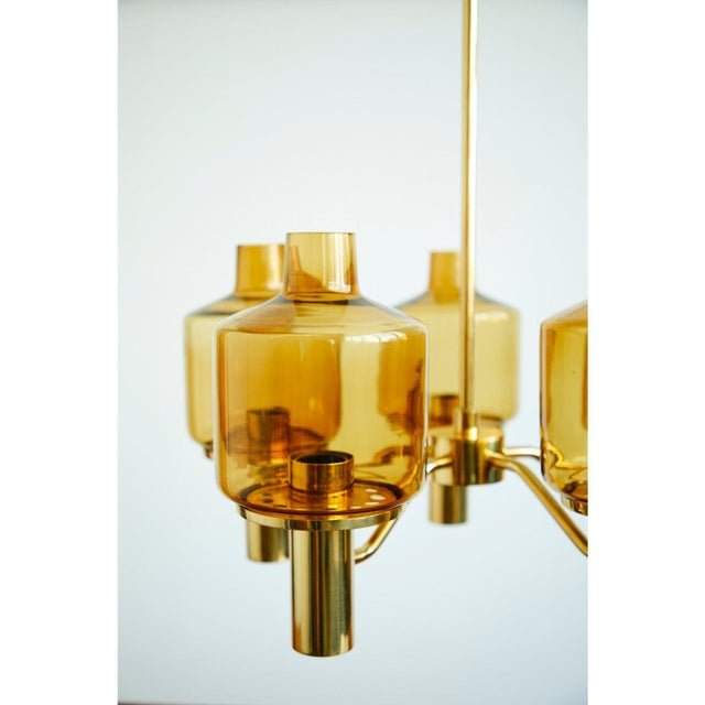 Mid-Century Modern Brass and Glass Chandelier by Hans-Agne Jakobsson For Sale - Image 3 of 5