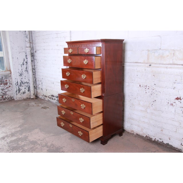 Metal Baker Furniture Mahogany Chippendale Style Highboy Dresser For Sale - Image 7 of 13