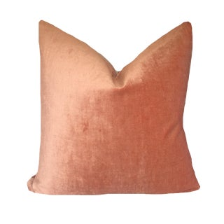 "Contemporary Coral Velvet Pillow Cover - 20"" For Sale"