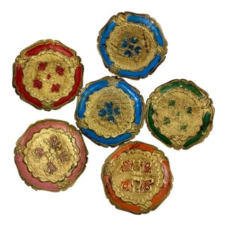 Vintage Italian Florentine Coasters - Set of 6 For Sale