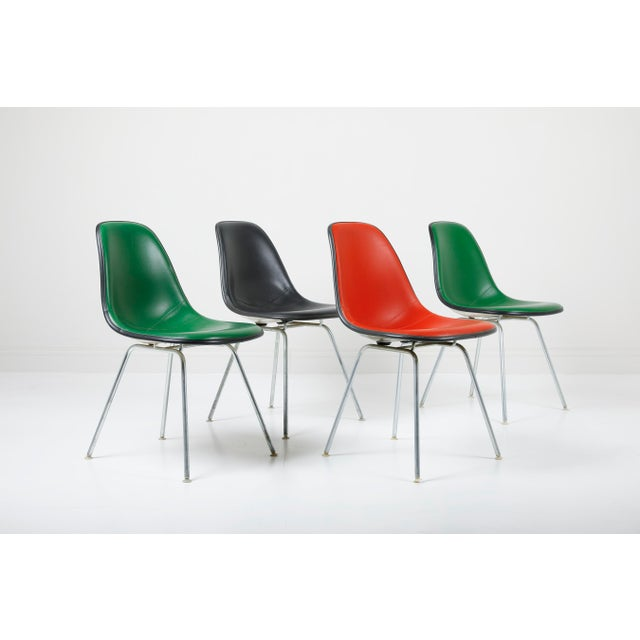 1970s Vintage Herman Miller Eames Dsx Fiberglass Padded Shell Chairs- Set of 4 For Sale - Image 11 of 11