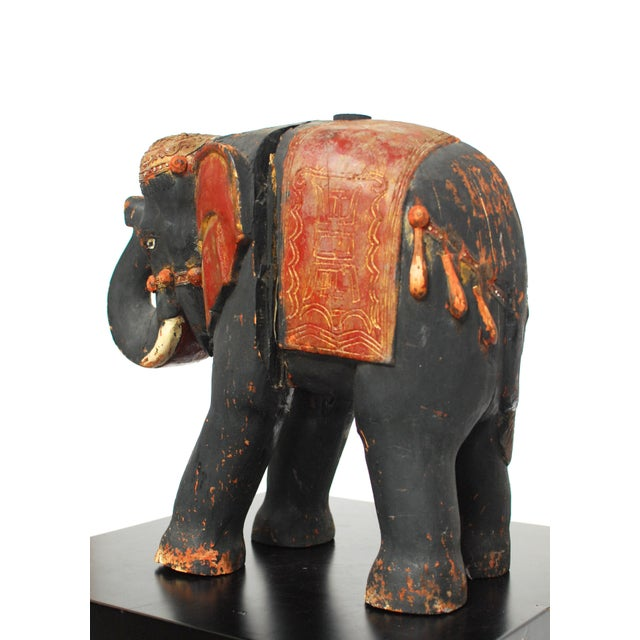 Antique Polychrome Carved Wood Elephant - Image 5 of 6