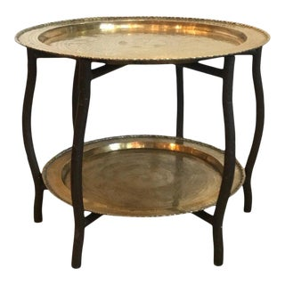 1950s Vintage Brass and Hardwood Double Tray Table For Sale
