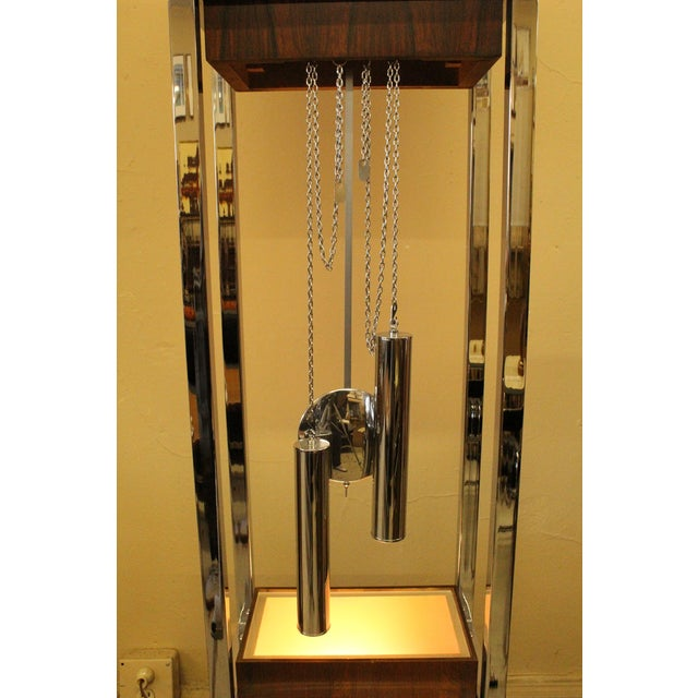 Mid-Century Rosewood & Chrome Grandfather Clock - Image 3 of 5