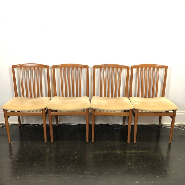 Set of teak dining chairs produced by Vamdrup Stolefabrik of Denmark.with original tan velvet upholstery This set includes...