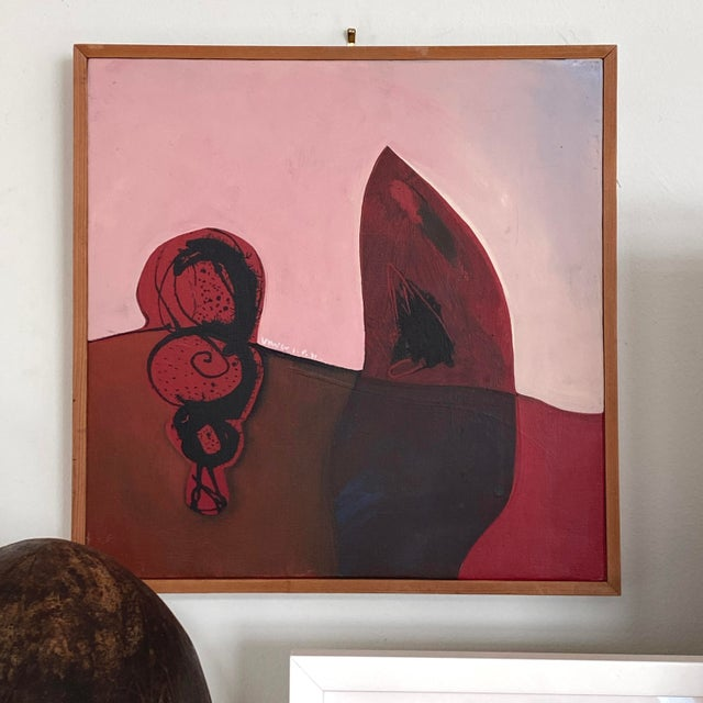 """Contemporary """"Two Forms"""" Contemporary Abstract Mixed-Media Painting by Unver Shafi Khan, Framed For Sale - Image 3 of 6"""