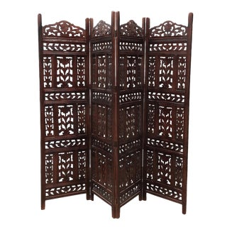 Walnut Stain Leaf Folding Screen For Sale