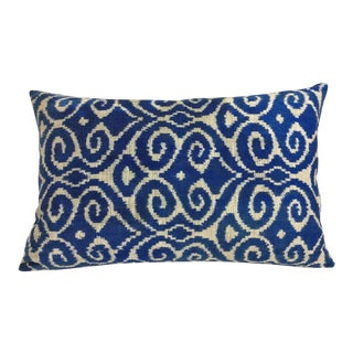 Navy Blue and Beige Silk Velvet Accent Pillow For Sale