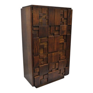 Lane Brutalist Block Front Walnut Gentleman Tall Chest For Sale