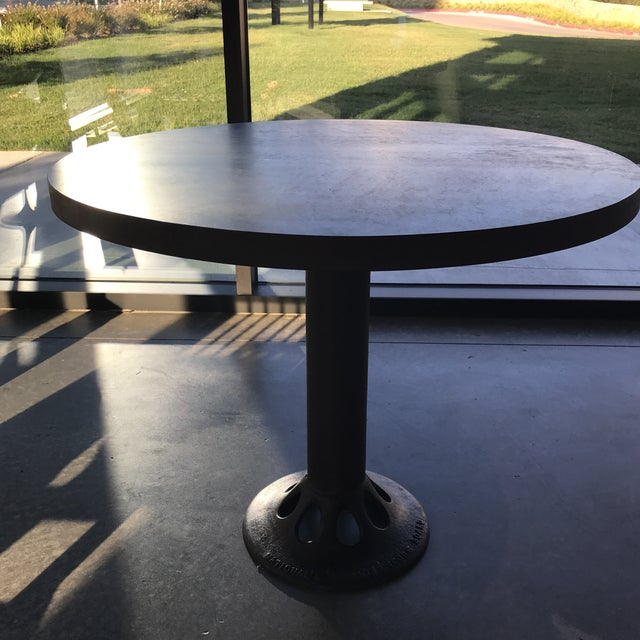 2010s Contemporary Custom Round Metal Top Table on Found Iron Base For Sale - Image 5 of 6