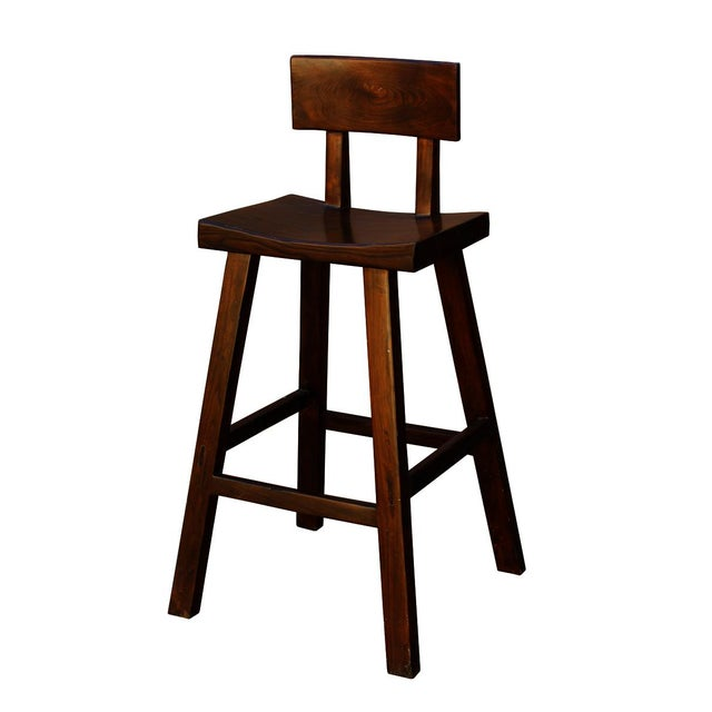 Handmade brown color A shape design tall bar stool with comfortable back rest, this stool is made of heavy solid elm wood....