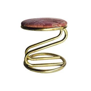 Vintage Brass Bent Stool Vanity Seat Ottoman