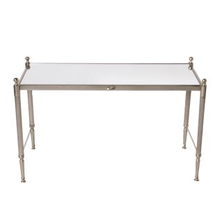 1950s Traditional Mirrored Silver Plate Coffee Table For Sale