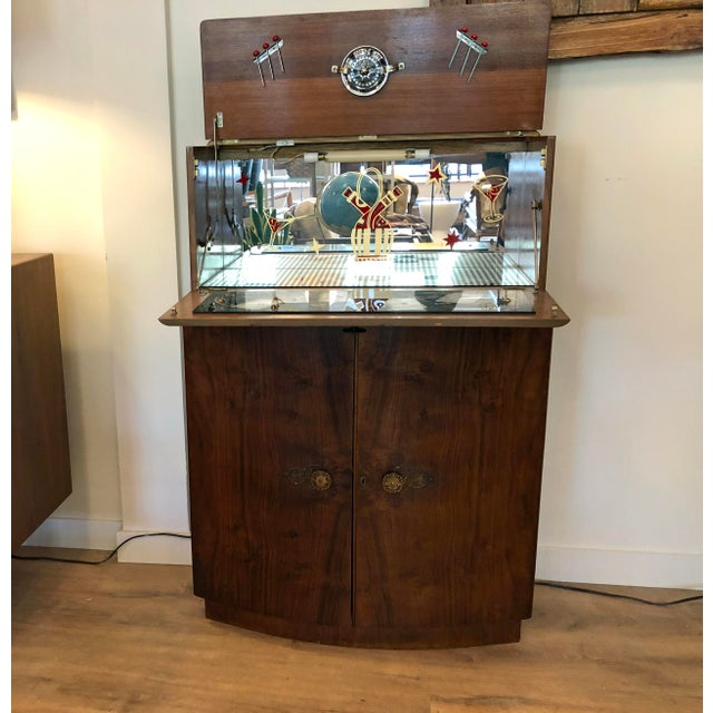 1950s Vintage Drop Door Liquor Cabinet With Mirrors For Sale - Image 4 of 9