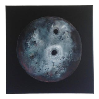 Abstract Black White and Dark Red Moon Painting For Sale