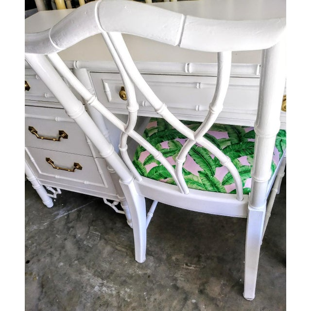 Fabric Thomasville Vintage Faux Bamboo Palm Beach Regency White High Gloss Desk W/Chair For Sale - Image 7 of 10