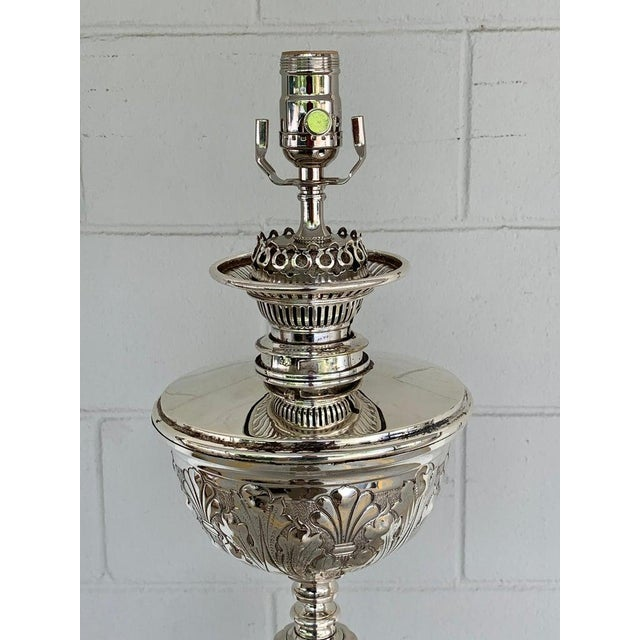 Magnificent Antique English Corinthian Column Silver Plated Floor Lamp For Sale - Image 10 of 11