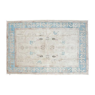 "Vintage Pale Blue Oushak Carpet - 5'4"" X 8'"