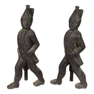 19th Century Hessian Soldier Form Cast Iron Andirons - a Pair For Sale