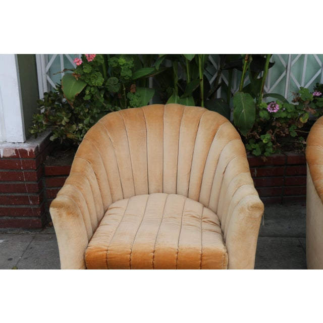Hollywood Regency Velvet Swivel Chairs - A Pair For Sale - Image 3 of 11