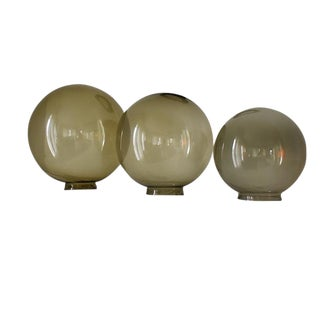 Mid-Century Round Green Brown Glass Coffee Table Globes Orbs - Set of 3