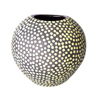 Heavy Glass Vase yellow dots For Sale
