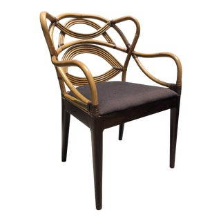 Modern Bent Rattan Peacock Wood Arm Chair For Sale