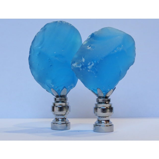 Azure Blue Sea Glass Finials - A Pair - Image 2 of 2