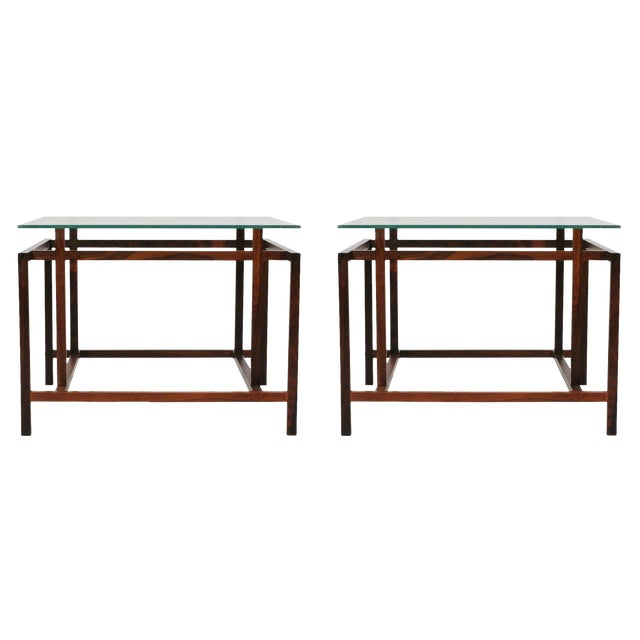Komfort Rosewood Architectural Frame Side Tables - a Pair For Sale