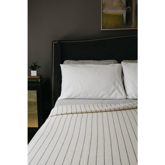 Contemporary Pinstripe Blanket in Midnight Blue, King For Sale - Image 3 of 11