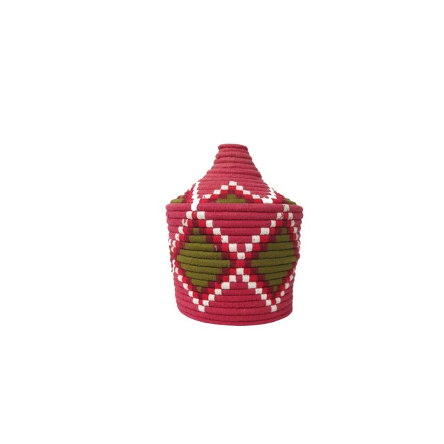 'Strawberry Field' Moroccan Woven Bread Basket For Sale